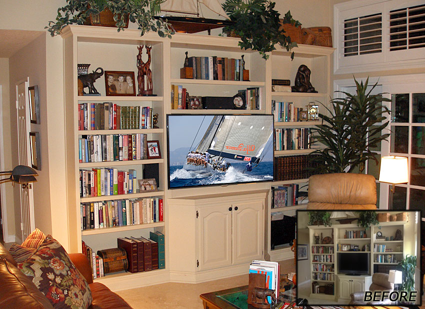 Custom back wall and pull-out bracket added to modify this built-in wall unit.