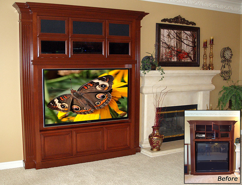 Furniture modification, this built-in entertainment center was retrofitted to accommodate a flat panel TV.