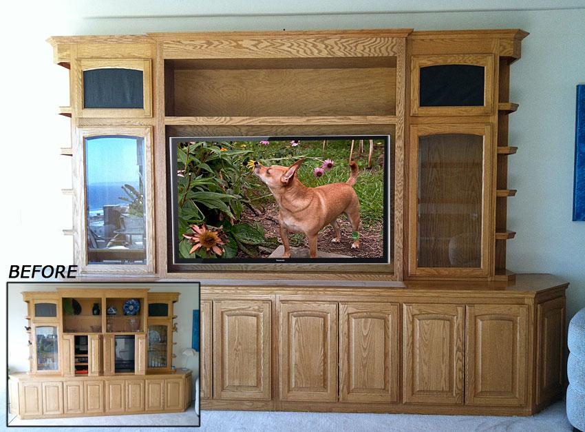 Oak wall unit modified for flat panel TV