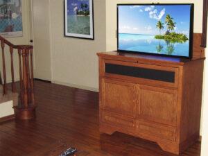 Phoenix A14 Motorized TV Lift, Honey Oak Finish