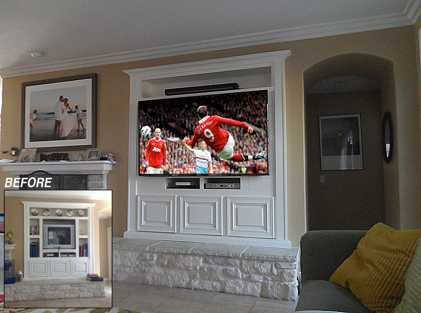 White built-in wall unit retrofitted from small TV to large TV and sound bar.