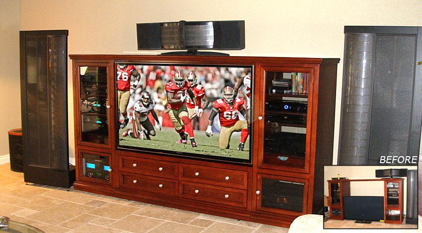 Visalia Junior furniture retrofitted to accommodate a flat panel TV.