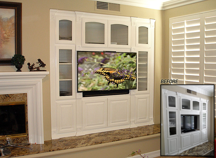 White built-in entertainment center modified for flat panel TV and Sonos sound bar.