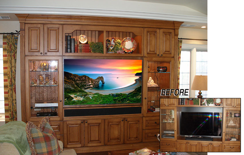 Wall unit modified for large flat panel TV and concealed sound bar.