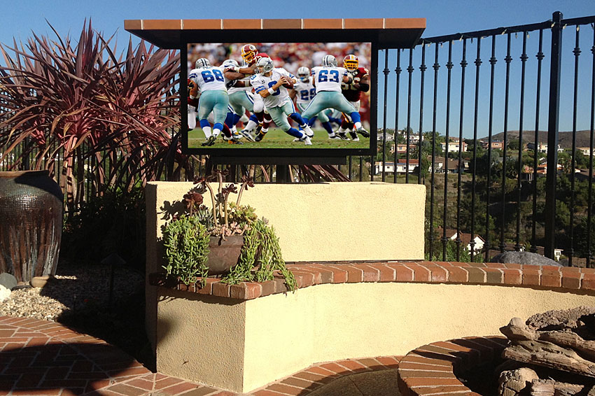 Motorized Outdoor TV lift with Swivel, Stucco and Faux brick construction