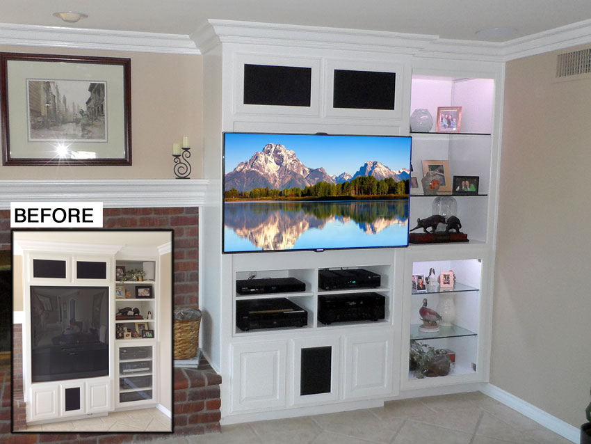 Before and After View of White Wall Unit Modified for Flat Panel TV