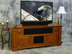 Castleton Credenza for large center speakers or sound bars closed view.