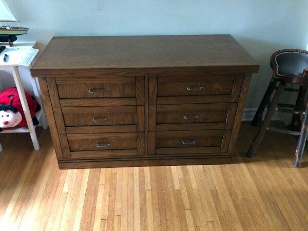 Mission/Shaker style oak wood DVD storage cabinet, six drawers