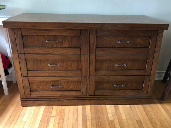 Six drawer high-capacity DVD storage cabinet in Oak