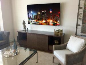 Custom TV Credenza with Sliding Doors