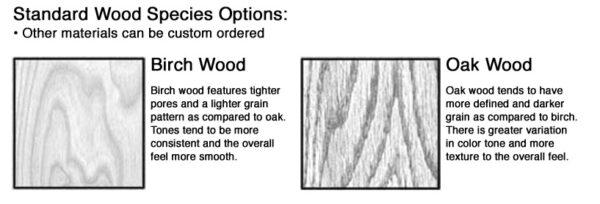 Standard wood species options