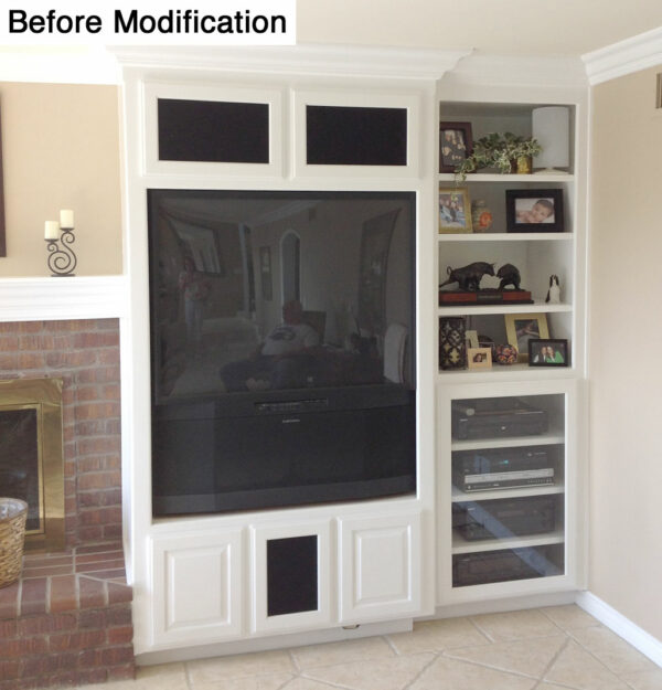 Before the wall unit was modified it had an old projection TV.