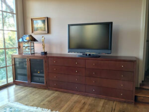 Eight drawer media storage and home theater furniture system