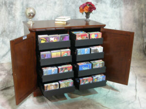 Eight drawer Evolution style media cabinet, open view