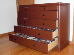 Ten drawer high capacity CD, DVD, and Blu-Ray media cabinet in Theater-Tech Style