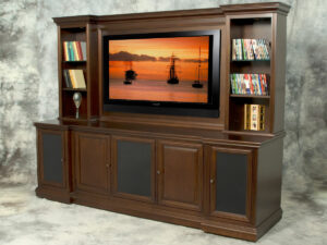 Traditional Wall Unit with 800 Styling, Raised Wood Doors and Lighted Display Space