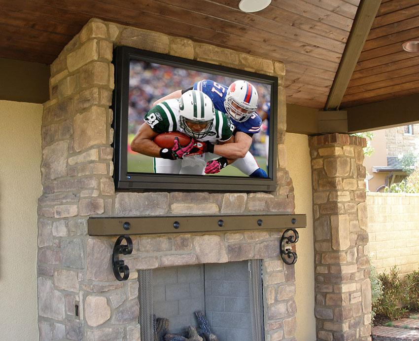 Closeup of Backyard TV Installation
