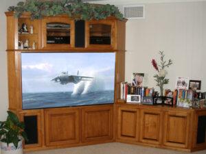 Corner furniture modification retrofit for large flat panel TV