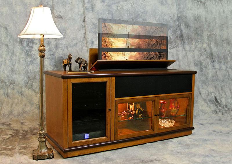 Phoenix P6832 modern motorized TV lift in two-tone finish