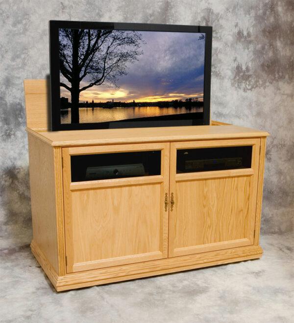 Raised view of Phoenix P5635 motorized TV view in natural oak