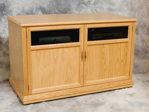 Natural Oak Motorized TV Lift Cabinet, Lowered View