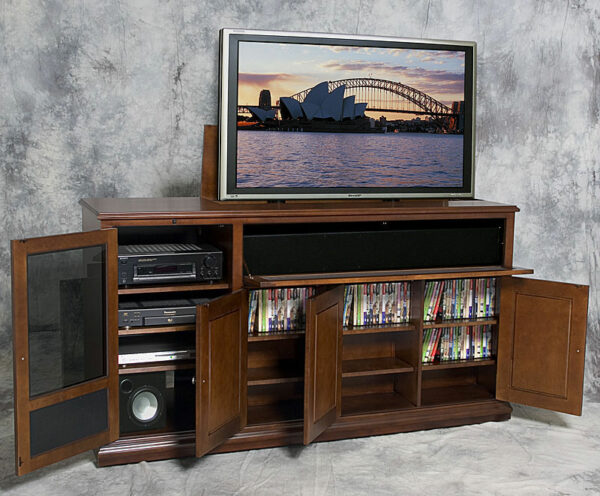This TV lift had integrated storage for an entire home theater system.