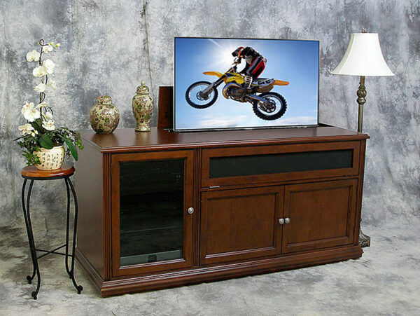 Phoenix P6932 Motorized TV Lift, Cinnamon Birch, TV Raised