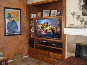 Custom Furniture Modification of Oak Built-In Wall Unit and Flat Panel TV