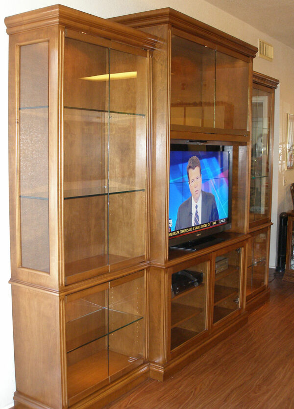 Custom Wall Unit and Lighted Curio Display Cabinets