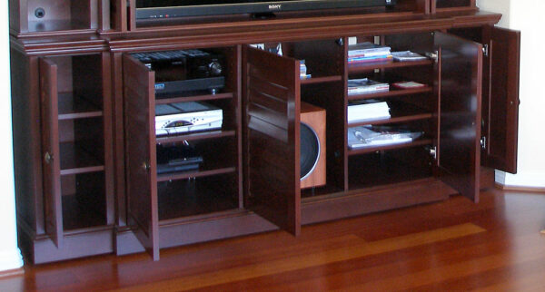 The lower section of the furniture provided plenty of storage for the electronics and subwoofer.