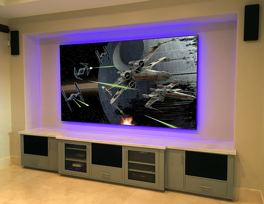 Built In Entertainment Credenza with Projection Screen