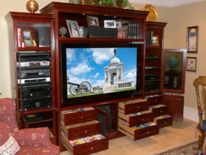 Traditional Wall Unit with High-Capacity Media Drawers, Open View